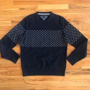 Tommy Hilfiger Wool Navy Printed Crewneck Sweater